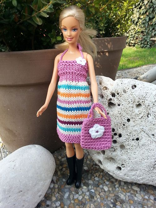 Veselé proužkaté šaty + kabelka pro Barbie