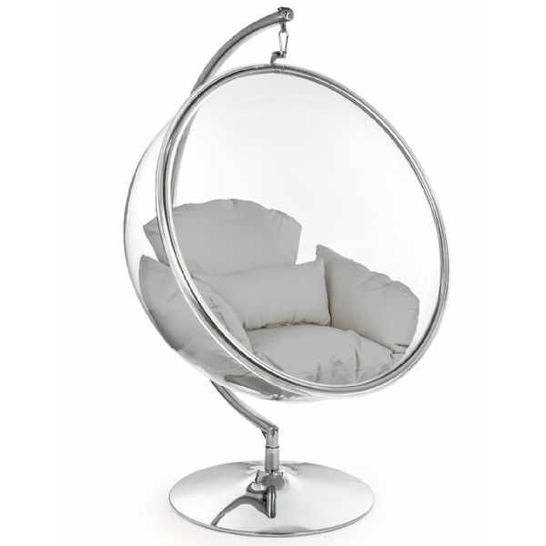 Clear Round Retro Hanging Bubble Chair On Steel Base With Grey