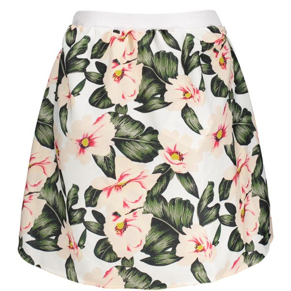 A Line Floral High Waisted Mini Skirt (22 CAD) ❤ liked on Polyvore featuring s…