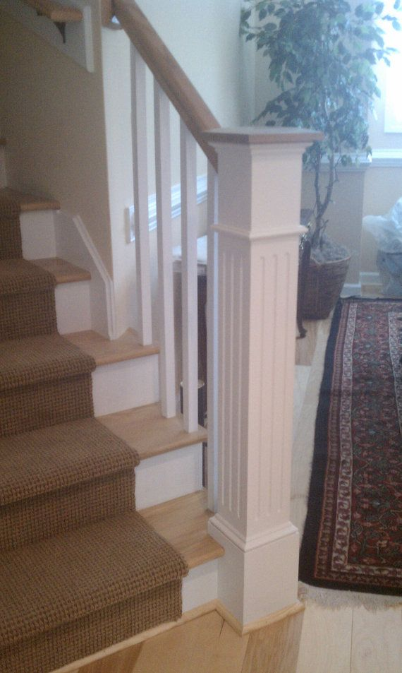 "55"" Fluted Box Newel Post,Newel Post,Stair Post,Stair Parts,Craftsman Style Post,Craftsman Style Newel,Craftsman Newel Post, Fluted Post"