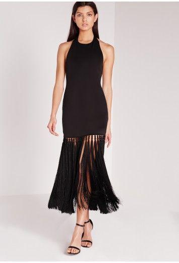 Cute black fringe hem dress I just ordered for non-traditional maternity look http://rstyle.me/n/bkxsiemnje