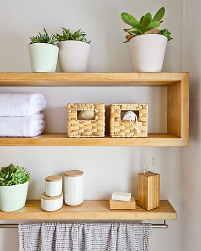 Add basket storage in your bathroom – it's great for keeping cosmetic products, kids' bath toys or extra towelling for family and guests.