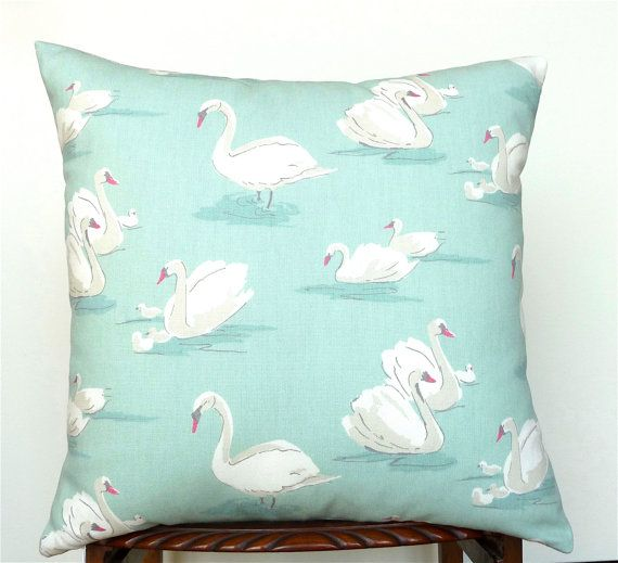Swans Soft Aqua Cushion Cover. White and Grey Swans by OnHighat5
