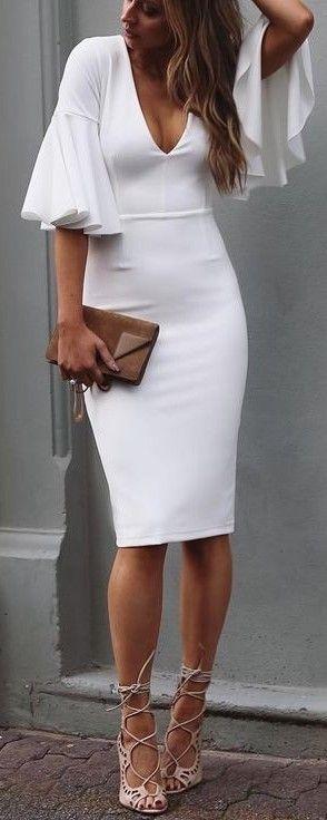 #summer #american #style | Lovely Sleeves White Midi Dress