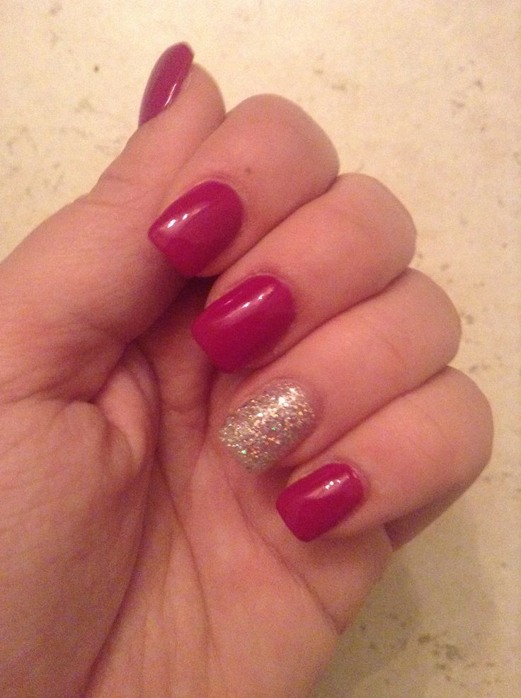 OPI Dim Sum Plum with glitter accent nail acrylics