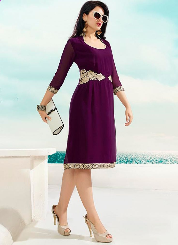 Dark magenta color beautiful embroidery on west party wear kurti