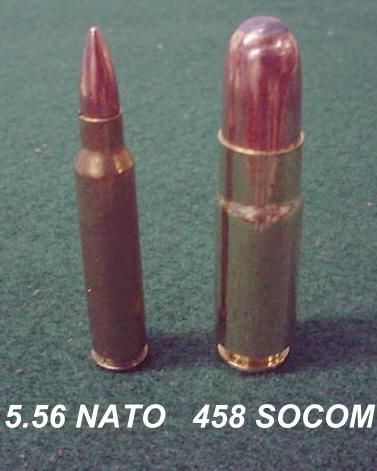 .458 SOCOM cartridge, was designed as a large bore, sound suppressible combat round for the AR platform. They can be used in standard 5.56 mags (single stacked of course)