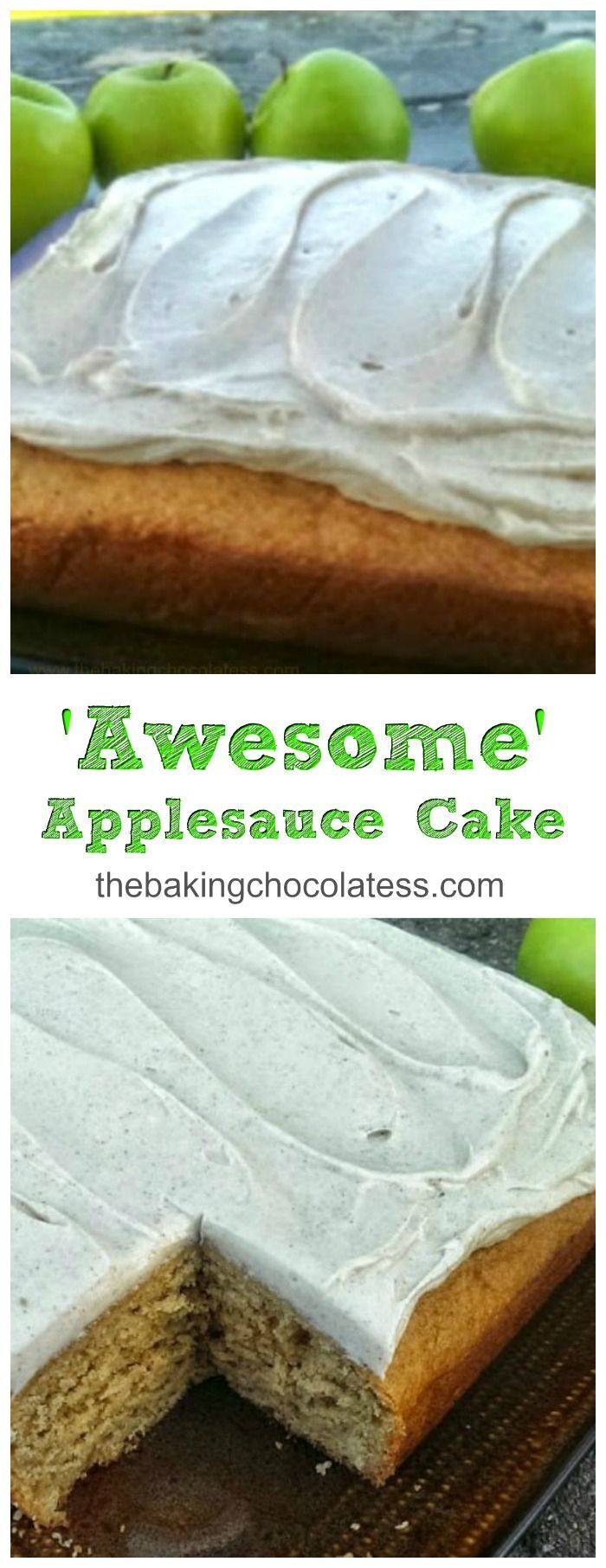 'Awesome' Applesauce Cake {Cinnamon Cream Cheese Frosting included!} via @https://www.pinterest.com/BaknChocolaTess/