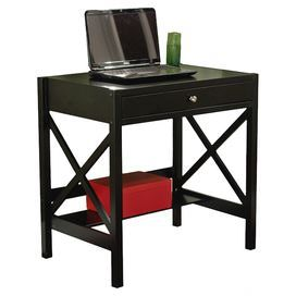 """Featuring latticed sides and 1 storage drawer, this black-hued writing desk brings refined appeal to your home office or living room.    Product: DeskConstruction Material: WoodColor: BlackFeatures:  Lower shelfX-shaped accents One drawerDimensions: 30"""" H x 30"""" W x 20"""" D"""