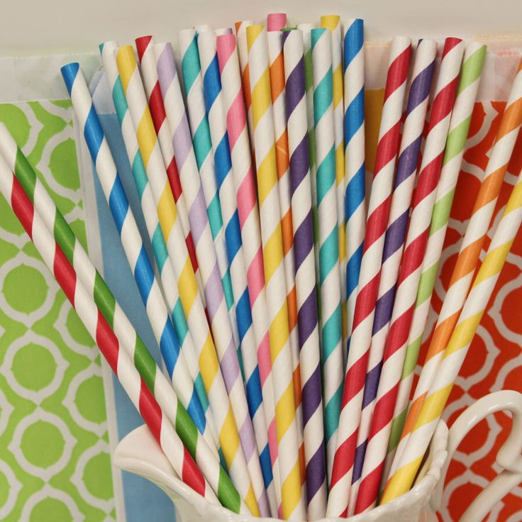 Paper Straw, 25 Rainbow Party Paper Straws, Striped Straws, Rainbow Birthday Straws, Drinking straws, Party Paper Straws, Kids Party Straws by ThePartyFairy on Etsy https://www.etsy.com/listing/119000448/paper-straw-25-rainbow-party-paper
