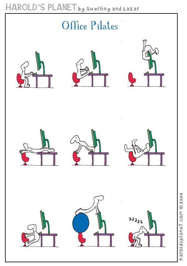 #Pilates a l'oficina i una mica d'humor per aquest #divendres. Feliç dia! #office #sport #working #Puigcerda