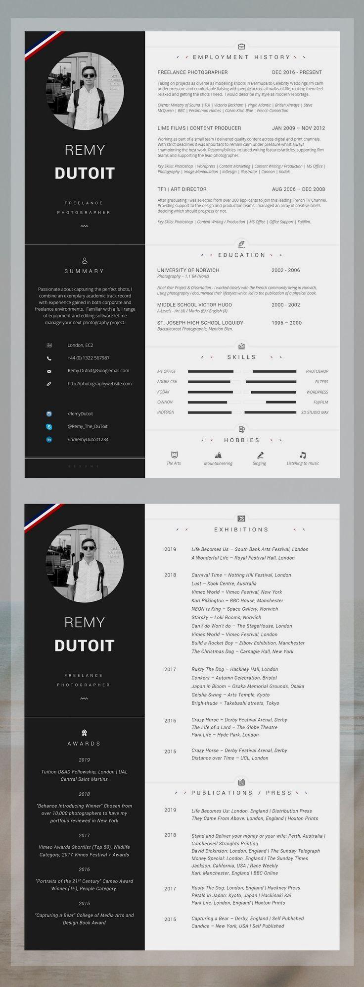 Basic Resume Templates Minimalist Resume Templates Photographer Resume Resume Design Template Creative Resume Templates