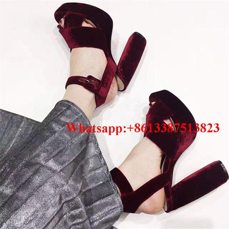 Red Wine Velvet Cross-tied Summer Sandals Peep Toe Shallow Cut-Outs Buckle Block High Heels Sandalias Mujer Ladies Shoes Woman