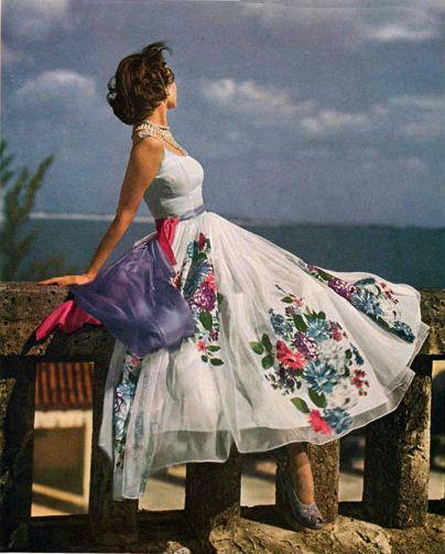 exquisite floral pattern vintage summer dress 1950's