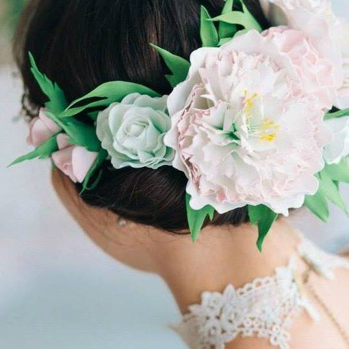 Венок из фоамирана. #flowers_foamiran #wedding_wreath