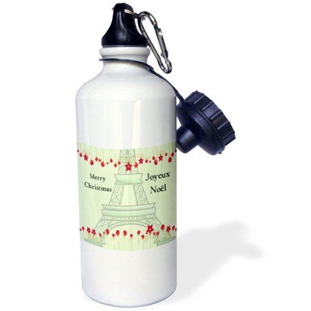 3dRose Joyeux Noel - Merry Christmas in French - Eiffel Tower, Sports Water Bottle, 21oz, White