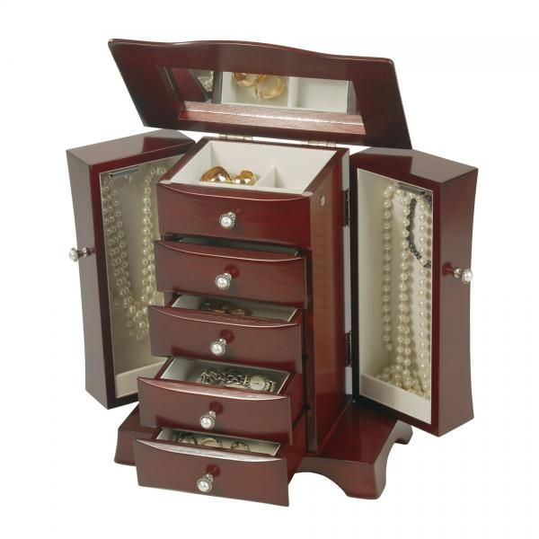 Teak Wood Woman S Jewelry Box Chest W Mirror Teak Wood Jewellery Storage Jewelry Chest