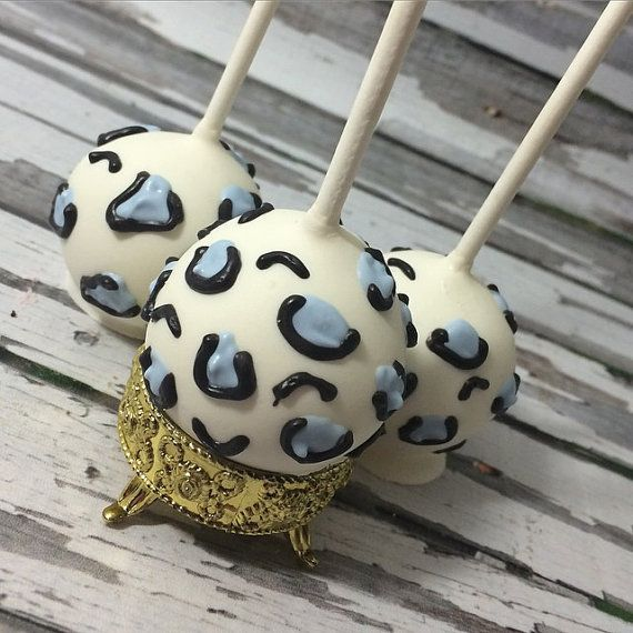 12 Cheetah Cake Pops Baby Shower Zoo Party Animal Print perfect for baby shower, bachelorette parties, and birthday parties!!