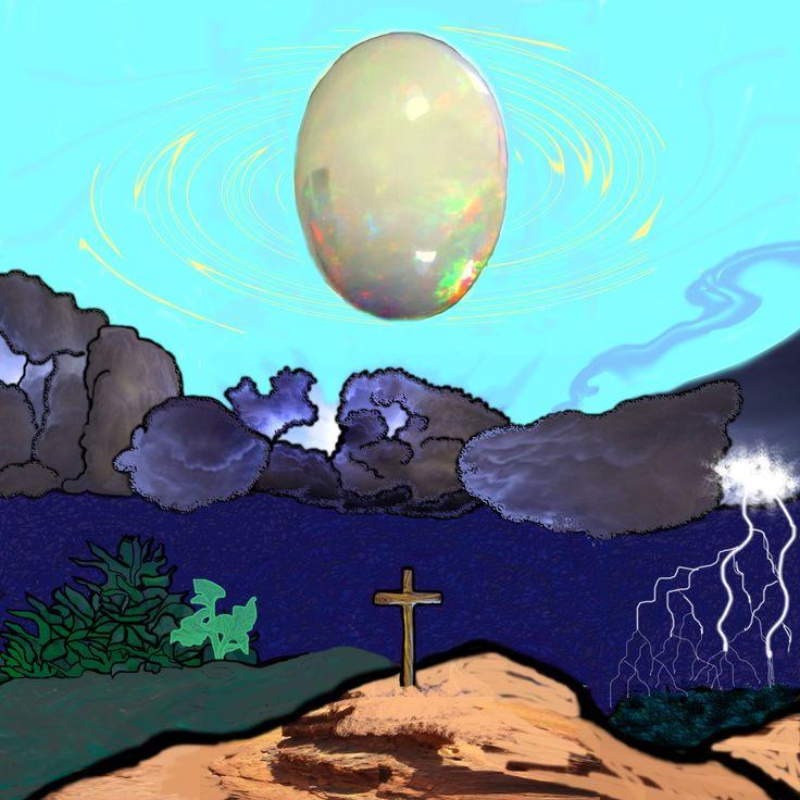 Pasqua cosmica. Con questo quadro ho partecipato alla mostra collettiva La croce e l'uovo tenutasi a Sassuolo , palazzo ducale, pagherai-arte