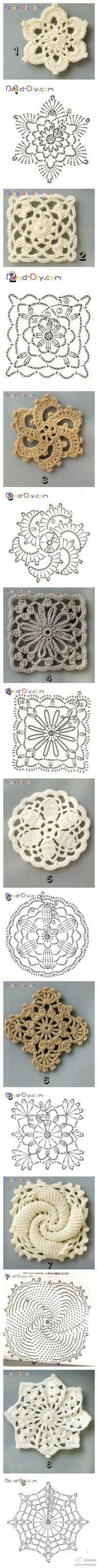 hæklede firkanter med blomster