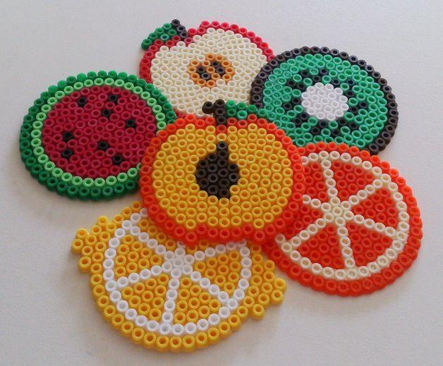 Früchte-Untersetzer aus Hama Bügelperlen - ein Designerstück von Jeanna87 bei DaWanda