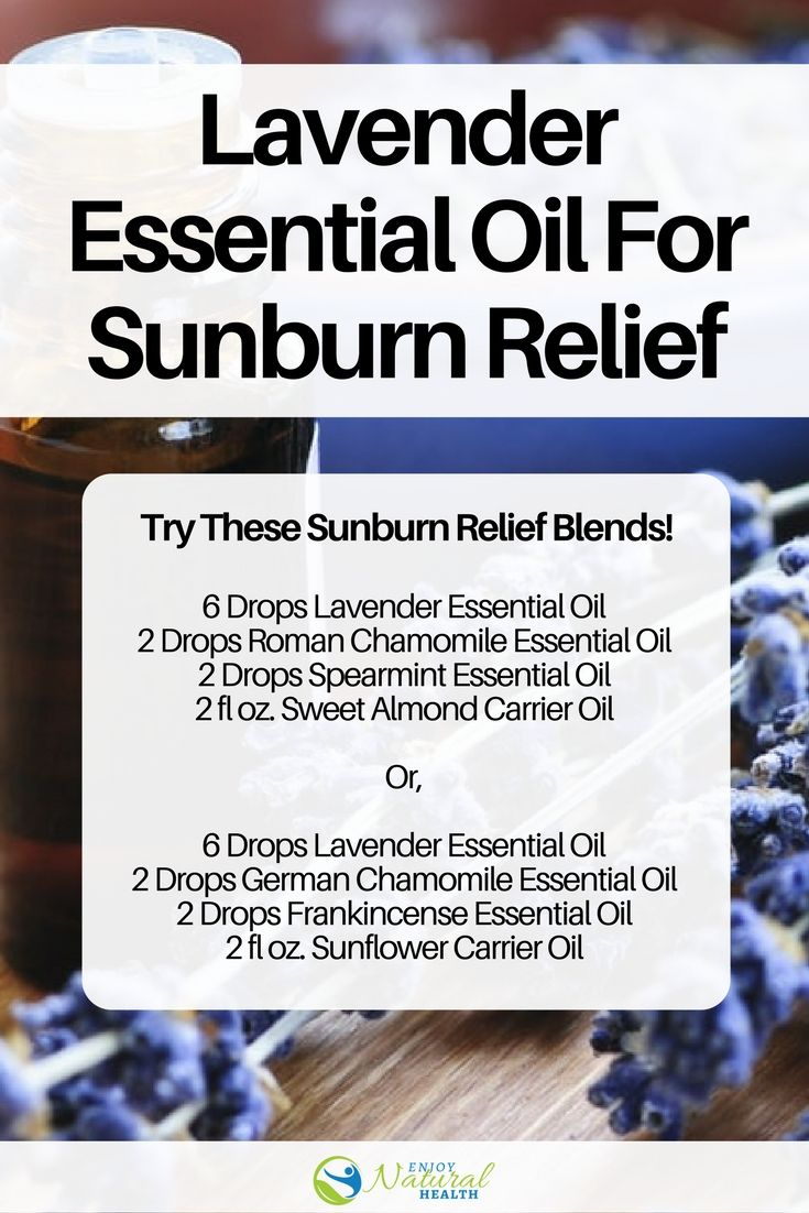 Lavender essential oil helps sooth painful sunburn and also prevents itchiness from peeling. Try these 4 soothing essential oil recipes for sunburn relief!