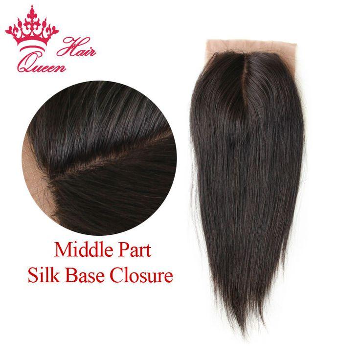 Queen Hair Silk Base Closure Brazilian Hair Straight 100% Human Hair Wigs No Tangle  Middle Part Closure DHL Free