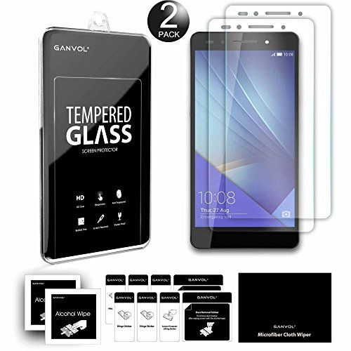 Ganvol (Pack of 2) Premium Tempered Glass Screen Protector for Huawei Honor 7 - Ganvol Premium Tempered Glass Screen Protector for Huawei Honor 7, 2 Pack Professional positioning kits provided. Alignment of the screen protector is super easy. Please refer to the installation guide in the package.  High Definition Clarity The tempered glass screen protector provides...