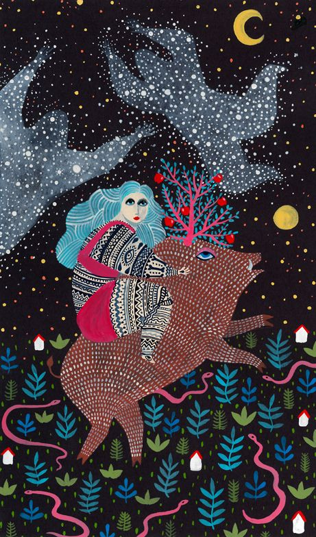 Zsalto's Hungarian roots still reflect strongly in her folkloric style. You can find many more of her beautifully bizarre illustrations on the blog today!  http://www.artisticmoods.com/zsalto/