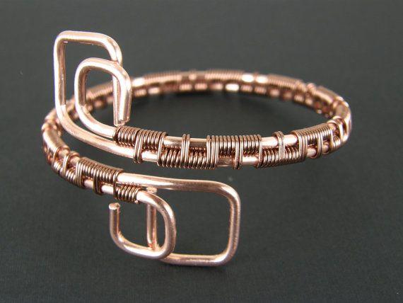 Modern Wire Wrapped Copper Bracelet, Womens Wire Weave Copper Bracelet, Copper Wire Bracelet