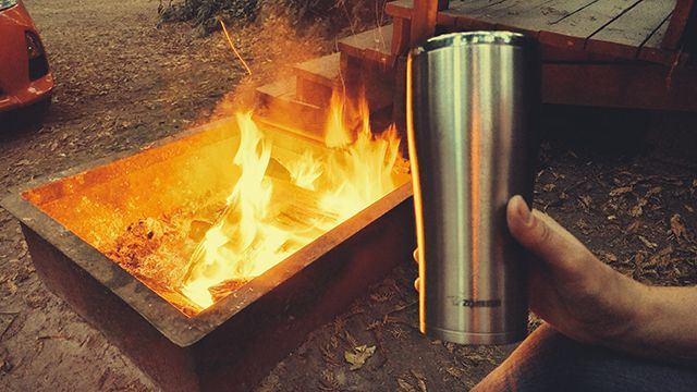 Ice cold #beer by a blazing #campfire. We're loving life in #BigSur. Where does your #ZoGo?