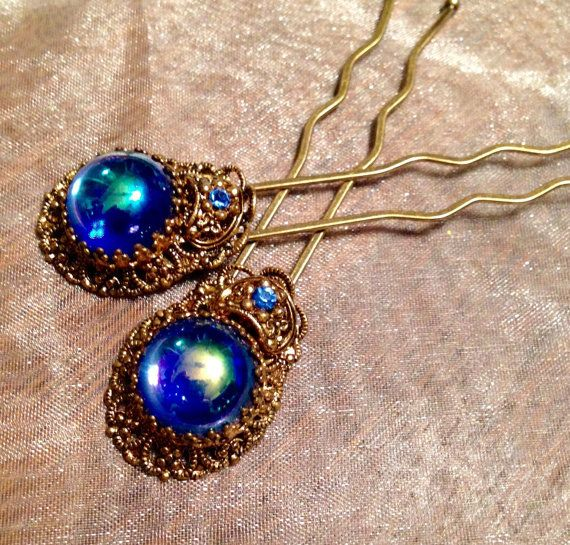 West Germany Blue Dragon's Breath Filigree Hairpins by WillowBloom