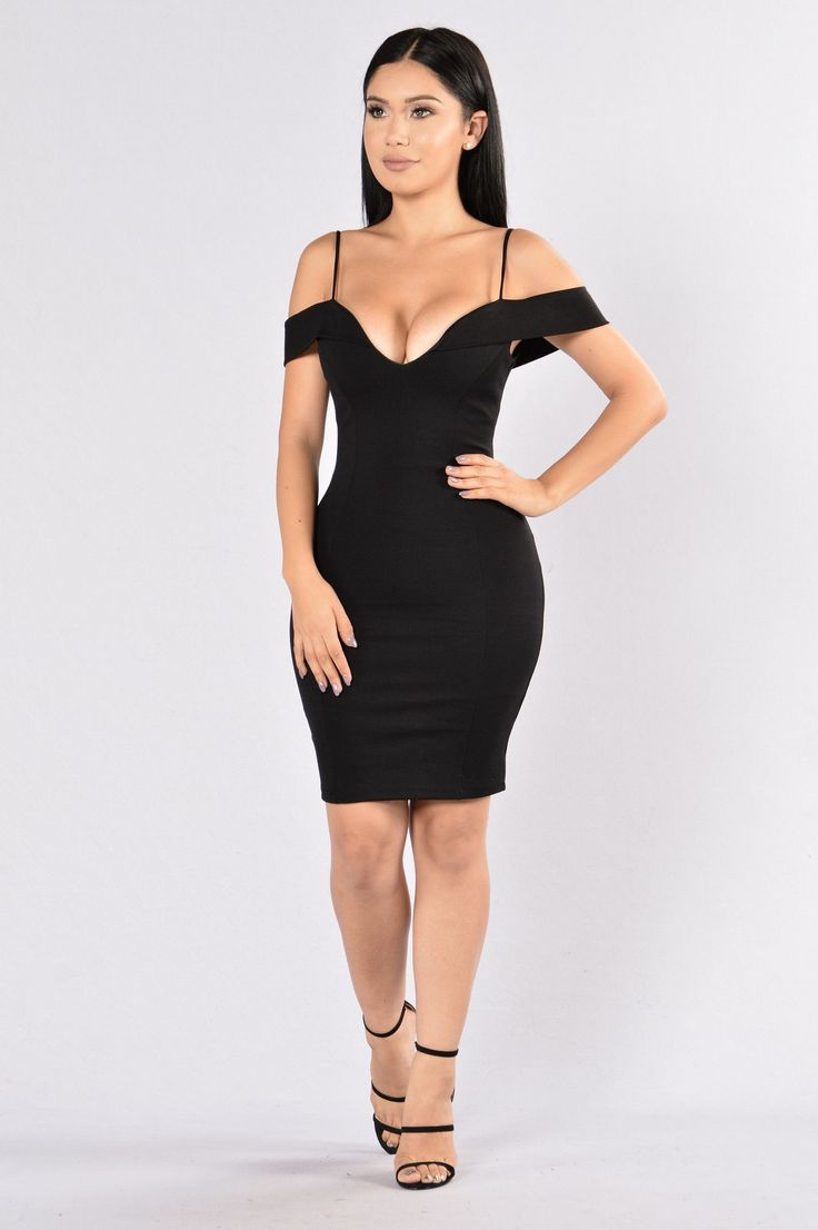 - Available in Black - Off Shoulder Dress - Sweetheart Neckline - Back Zipper - Body Con - 65% Rayon, 30% Nylon, 5% Spandex
