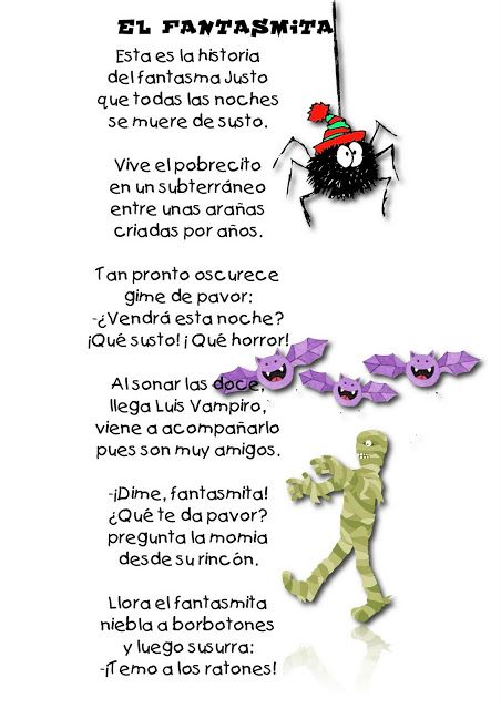 "Spanish Halloween poem for kids: ""El fantasma."" #Spanish poems for kids #Halloween"