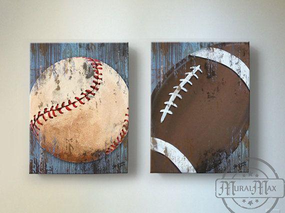 Baseball and Football Sports Wall Art ,  Baseball Nursery Decor,  Baby Boys Room  Sports Canvas Art Print  Baseball Art, Football Art on Etsy, $102.00