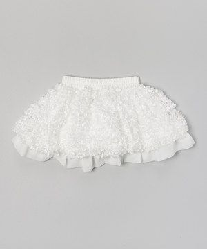 This White Flower Puff Patch Skirt - Infant, Toddler & Girls by Ruffles by Tutu AND Lulu is perfect! #zulilyfinds