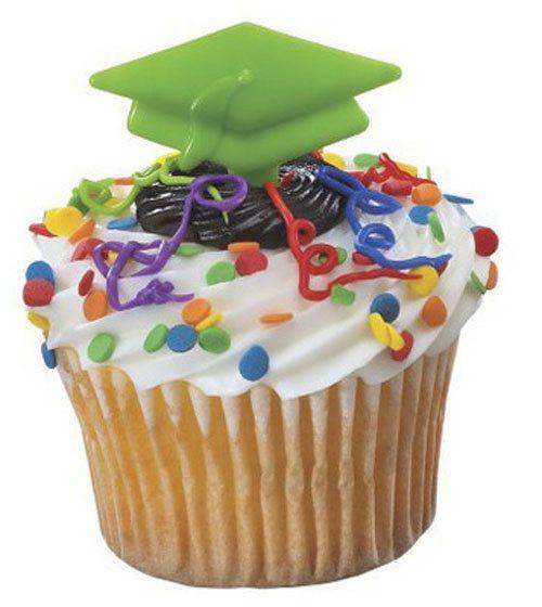 24 Green Graduation Cap Cupcake Picks Cake by CakeAndCandyDreams