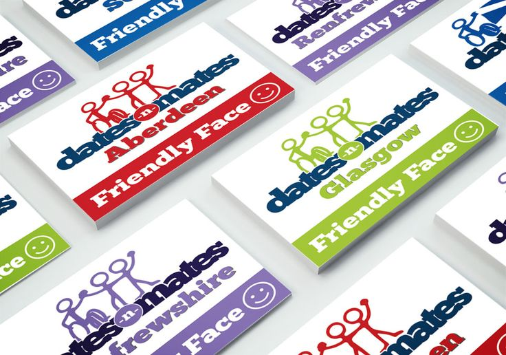 FRIENDLY FACE – Print out ID cards dates-n-mates Friendly Face for all local branches.  #card #design #branding #logo #identity