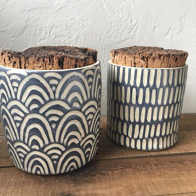 Just posted these large canisters or cookie jars to my shop. #ceramics #sgraffito #clay #pottery #cookiejar
