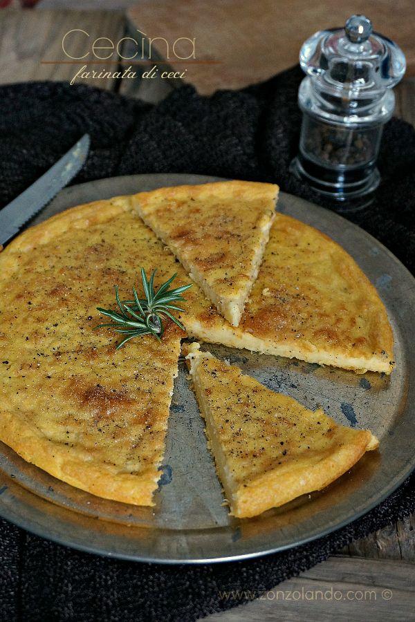 Cecina farinata di ceci ricetta tradizionale tipica toscana e liguria per celiaci vegana intolleranti lattosio - Chickpea cake recipe