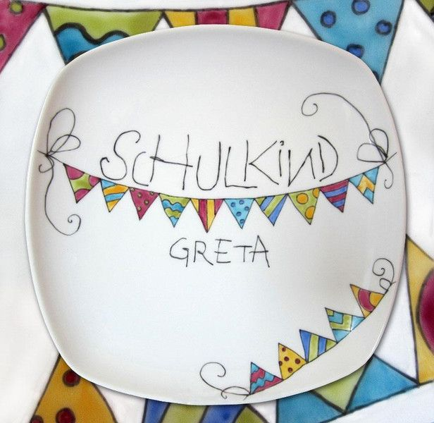 """Teller - Einschulung-Teller """"Schulkind""""- Wimpelkette - ein Designerstück von Porzellanmalstueberl bei DaWanda"""