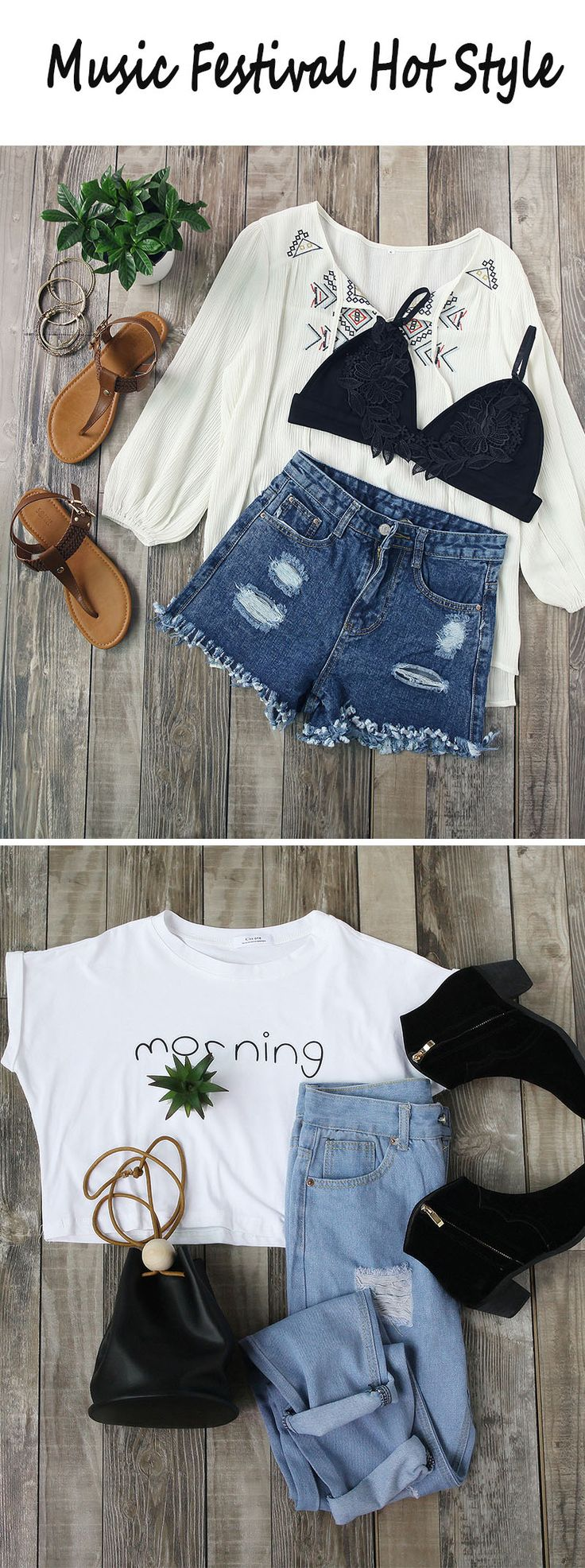 Simple boho look,best outfits for Coachella ball the shorts and shoes are so cute! plus the white tee and blouse #Coachella#festival outfits# summerstyle