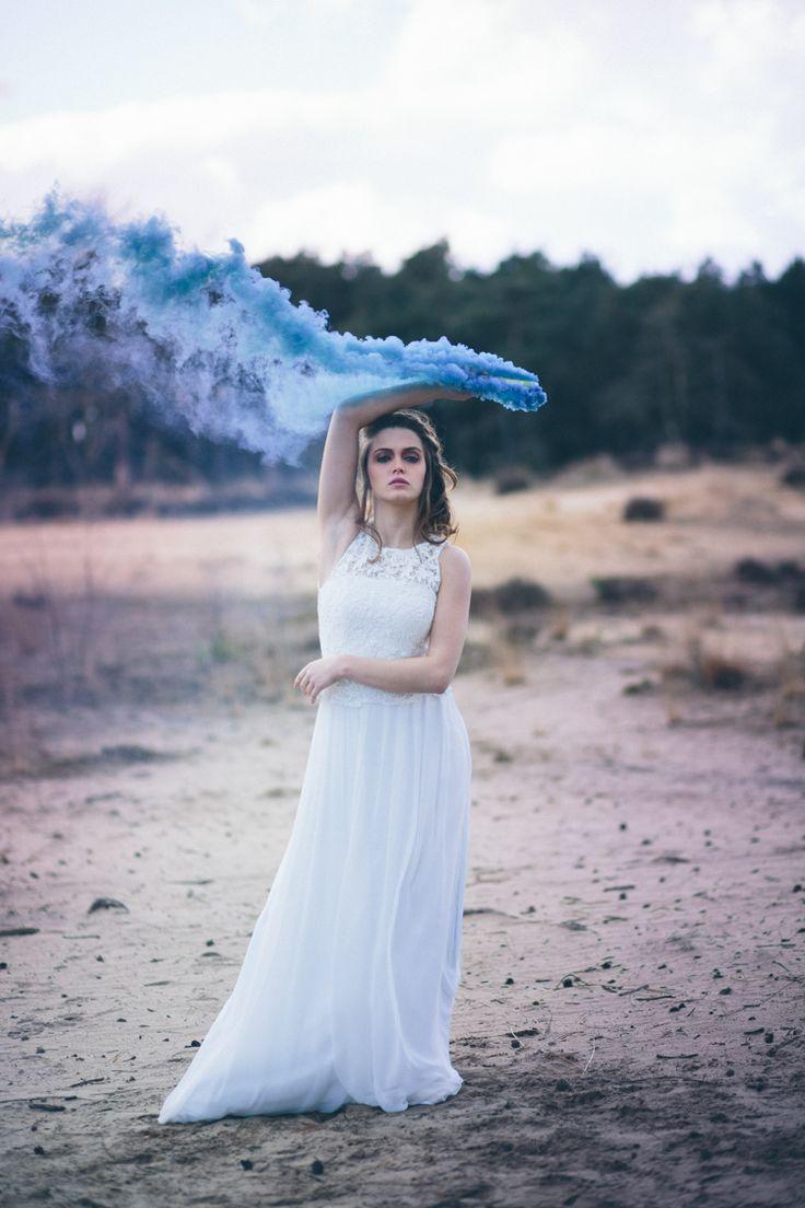 Blue Smoke Bomb Bride Bridal Gown Dress Moody Dark Whimsical Fantasy Birds of Prey Wedding Ideas http://leentjeloveslight.com/