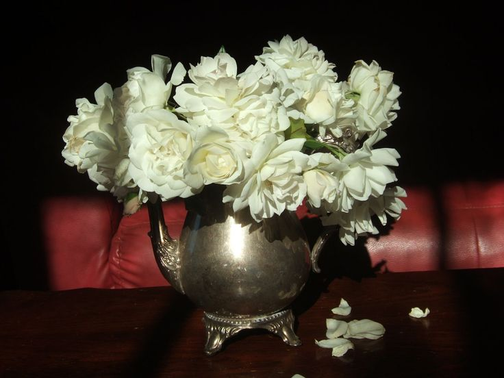 White Roses in a Silver Teapot