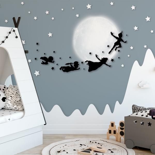 Peter Pan Silhouette Flying With Friends Stars Moon Mountain Wallpaper Self Adhesive Peel And Stick Wall Sticker Wall Decoration Removable Peter Pan Silhouette Nursery Wallpaper Peter Pan