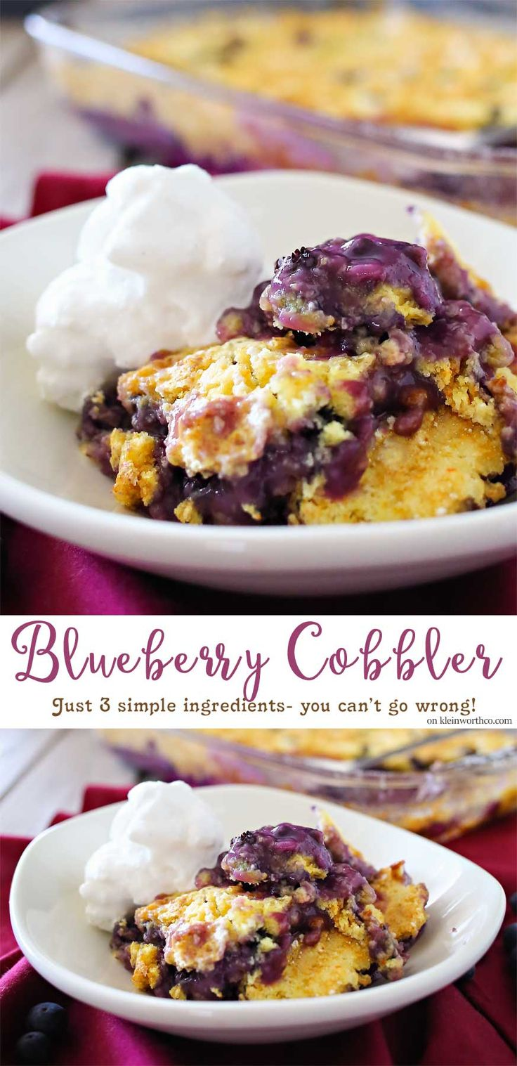 Blueberry Cobbler is one of my favorite blueberry desserts. It certainly tops the list for delicious 3 ingredient recipes that everyone loves. This cobbler recipe is super easy too.  #FreshFromFlorida #IC #ad