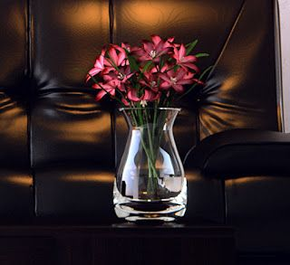 This vase is thick and very solid and its heavier than you'd expect for its size. It has a lovely shape and fits a normal bunch of flowers. I beleive its a perfect size for your small living room and great for the Walnut Coffee table above. Its nice shape makes it stylish and fashionable.  http://www.amazon.co.uk/LSA-Posy-Clear-Elegant-D%C3%A9cor/dp/B004FNUHHE/ref=as_sl_pc_ss_til?tag=httpefevresbl04-21&linkCode=w01&linkId=&creativeASIN=B004FNUHHE