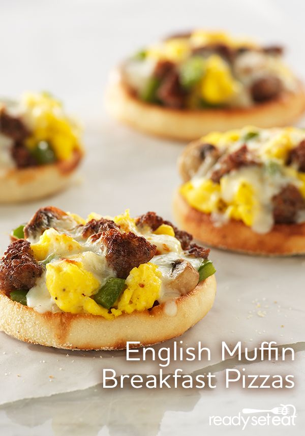 English Muffin Breakfast Pizzas perfect for the freezer and easy to pull out for those busy mornings!