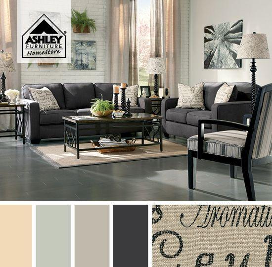 Sofá Alenya - ¡Perfecta combinación de tonos carbón acentuado con tipografía!