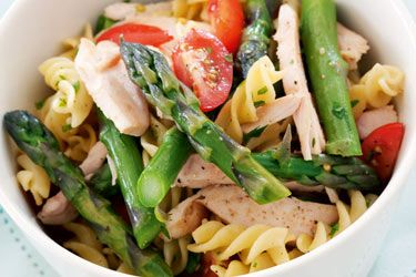 Easy pasta with asparagus and smoked chicken. A simple, easy and cost effective mid-week meal. If you've got the ingredients handy, this will take under 15 minutes to prepare.